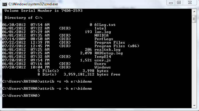 How to hide your files and folder using Command prompt