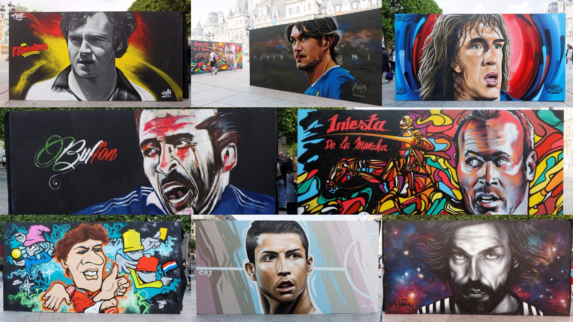 Graffiti Euro 2016 Football legends featured collage