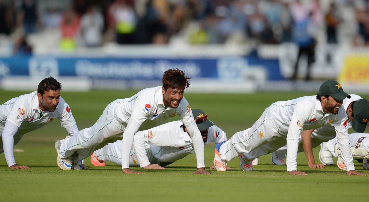 Pakistan Team Celebration Pushups Lords Test 2016 Misbah Ul Haq Surfolks