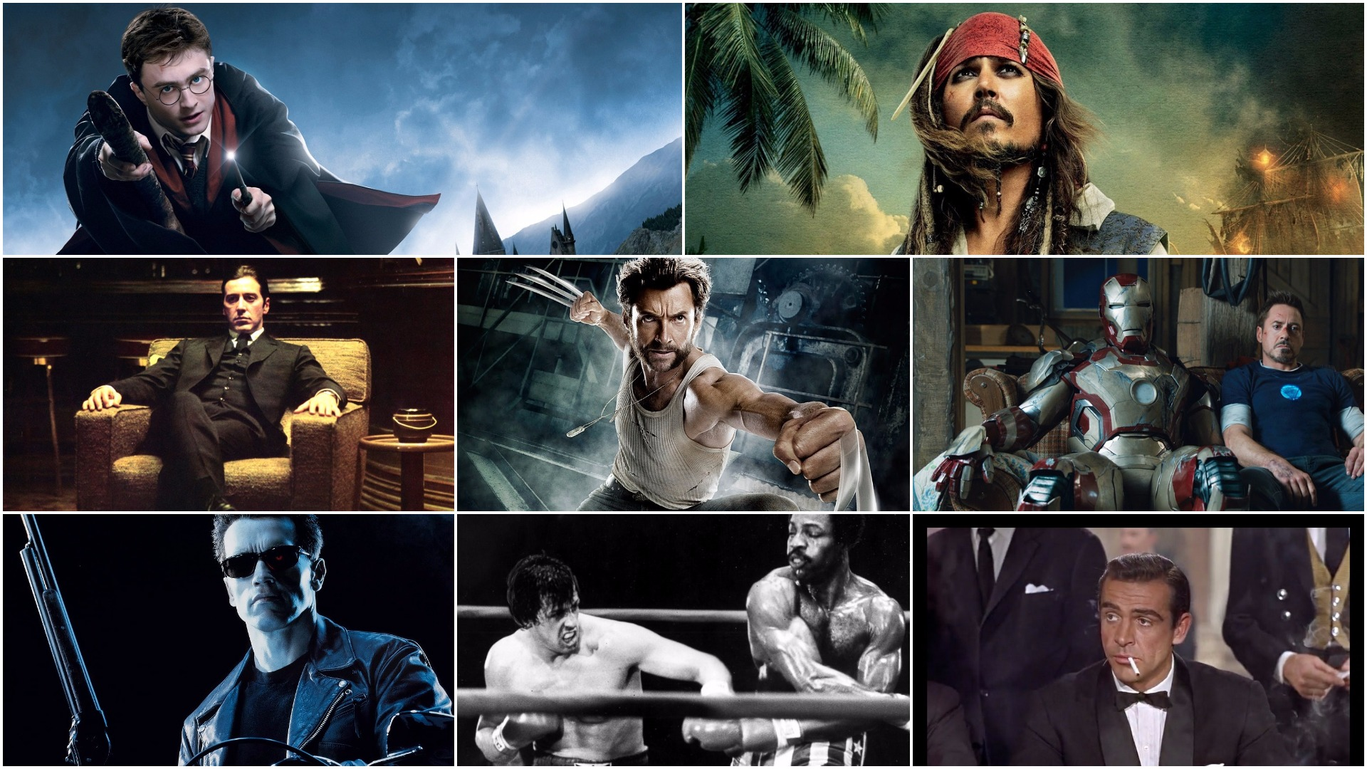 Actor Collage Great Movies - Harry Potter Pirates of Caribbean Godfather Wolverine Iron Man Terminator Rocky James Bond