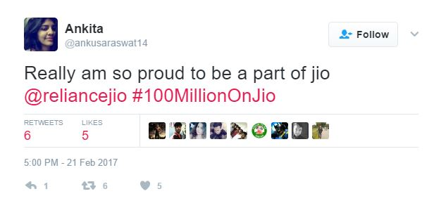 A JIO user expresses her gratitude to the mobile network