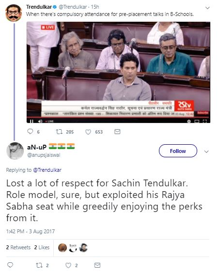 SACHIN TENDULKAR RECENT ATTENDANCE IN RAJYA SABHA – SADLY HE GOT TROLLED IN TWITTER
